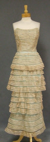 Will Steinman Tan Lace & Aqua Taffeta 1950's Evening Gown
