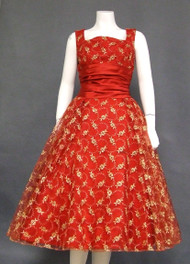 INCREDIBLE Gold & Red Tulle 1950's Cocktail Dress