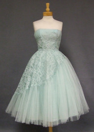 Robins Egg Blue Asymmetrical Lace & Tulle 1950's Prom Dress