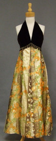 Cool 1970's Velvet & Metallic Evening Gown w/ Open Back