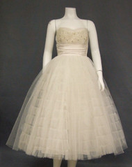 OUTSTANDING Ivory Tulle 1950's Dress w/ Soutache & Rhinestones
