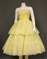 Beautiful Flocked Nylon Strapless Vintage Prom Dress