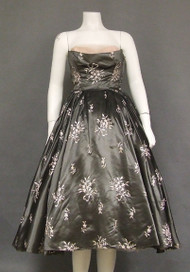 Gunmetal Taffeta 1950's Cocktail Dress w/ Pink Embroidery