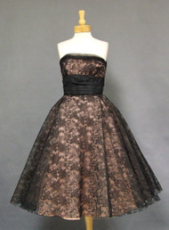 Henry Conder Gorgeous Pink & Black Lace 1950s Cocktail Dress