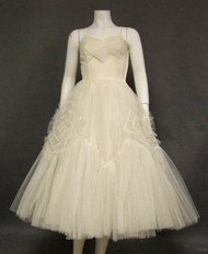 Floating Ivory Tulle 1950's Dress w/ Ruffled Diamonds