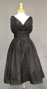 GORGEOUS Black Silk Taffeta Vintage Cocktail Dress w/ Bead Fringe
