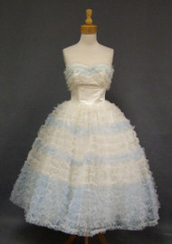 VOLUMINOUS Blue & Ivory Ruffled Tulle Vintage Prom Dress