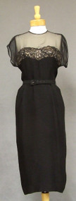 FABULOUS Black Rayon 1950's Cocktail Dress w/ Illusion Bodice