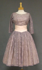 Beautiful Lavender Lace 1950's Cocktail Dress w/ Pleated Taffeta Waist
