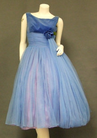 Blue Chiffon & Velveteen 1950's Cocktail Dress w/ Balloon Hemmed Sash