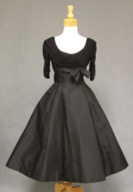 Gathered Silk Jersey & Taffeta 1950's Cocktail Dress