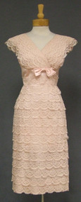 Pretty in Pink Tiered Lace Vintage Cocktail Dress
