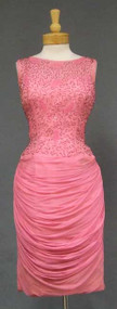 Dramatic Pink Chiffon 1960's Cocktail Dress w/ Beaded Bodice & Draped Skirt