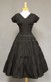 GORGEOUS Ribbon Appliqued Black Taffeta 1950's Cocktail Dress