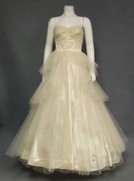 KAY Selig Sequin Dotted Ivory Tulle 1950's Ball Gown