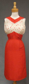 Oleg Cassini Fiery Red Silk 1960's Dress w/ Polka Dotted Chiffon