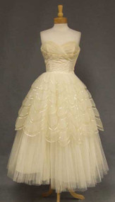 Will Steinman Sequined Tulle 1950's Cocktail Wedding Dress