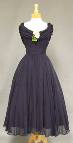 Sweeping Navy Blue 1950's Cocktail Dress w/ Gathered Collar