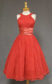 Raspberry Satin & Chiffon 1950's Halter Dress
