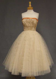OUTSTANDING Beige Tulle & Taffeta 1950's Dress w/ Pumpkin Satin