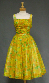 Breezy GiGi Young Floral Chiffon 1950's Cocktail Dress