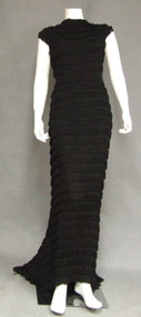AMAZING Black Fringe 1930's Evening Gown w/ Fishtail