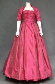 STUNNING Harry Keiser Iridescent Fuchsia Organdy 1950's Ball Gown