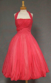 AMAZING Hot Pink CHiffon 1950's Halter Dress w/ HUGE Balloon Skirt