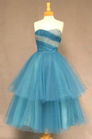GREAT Two Toned Tulle Strapless 1950's Prom Dress