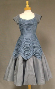Slate Blue Gathered Jersey & Taffeta 1950's Cocktail Dress
