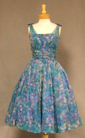 FAB Gathered Blue Nylon 1950's Cocktail Dress