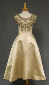 Howard Greer Pale Golden Satin 1950's Cocktail Dress w/ Bead, RS & Pearl Trim
