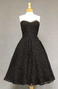 Frank Starr Tinsel Topped Black Lace 1950's Cocktail Dress