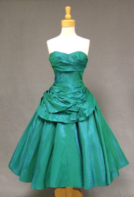 Fred Perlberg Draped Green Taffeta 1950's Cocktail Dress