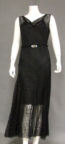 Black Lace 1930's Evening Dress w/ Gorgeous Belt Buckle