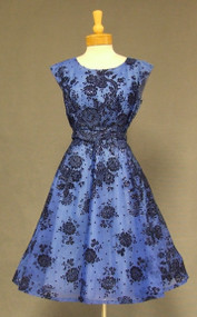Cobalt & Black Glitter Topped Flocked Chiffon 1960's Cocktail Dress