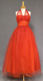 Emma Domb Fiery Red Tulle 1950's Halter Gown