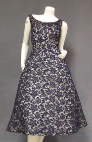 Beautiful Navy & Ivory Lace 1950's Cocktail Dress