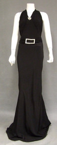 EXTRAORDINARY Black Crepe 1930's Evening Gown w/ Dripping Rhinestone Back