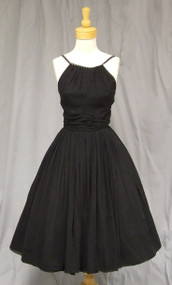 Gathered Black Chiffon Vintage Cocktail Dress w/ Rhinestone Straps