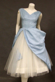 GORGEOUS Blue Taffeta & White Tulle 1950's Prom Dress