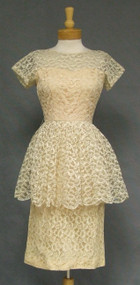 Cream Lace 1960's Cocktail Dress w/ Full Peplum