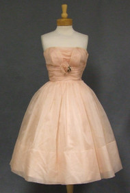 Dusty Pink Organdy Strapless Vintage Cocktail Dress w/ Rose