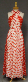 STRIKING Red & White Chiffon 1970's Halter Gown