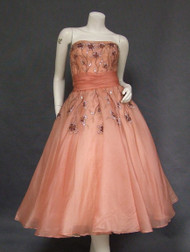 OUTSTANDING Beaded & Sequined Rose Organdy 1950's Cocktail Dress