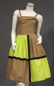 FANTASTIC Mocha & Lime Pique Color Block Sun Dress