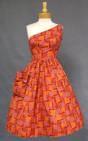 OUSTANDING Betty Carroll One Shouldered 1950's Sun Dress