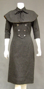 FABULOUS Charcoal Wool 1950's Dress w/ Matching Cape