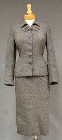 Stunning Ben Reig Grey Wool Suit w/ Beaded Trim