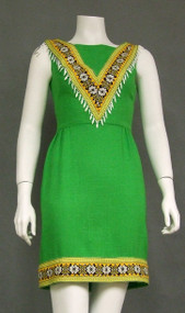 Chic Green 1960's Mini Dress w/ Tribal Feel